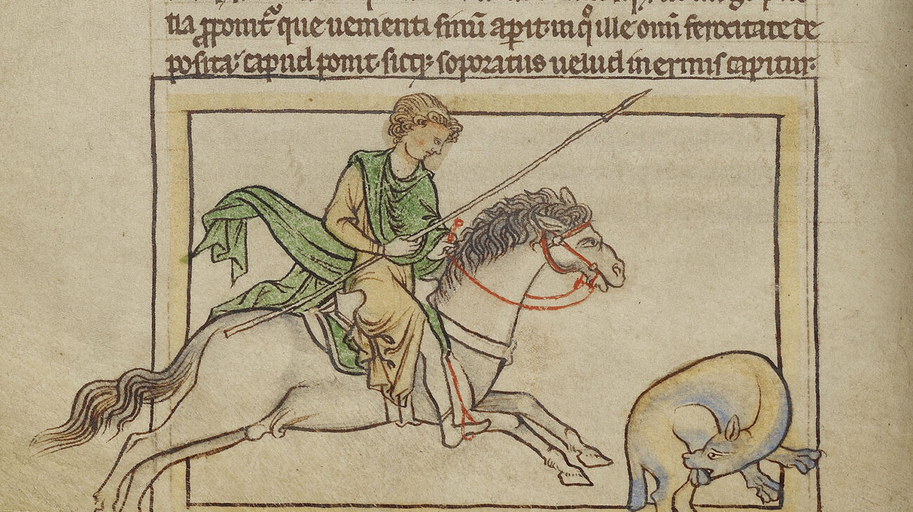 A man on a horse with a spear approaches a beaver biting his own testicles off.