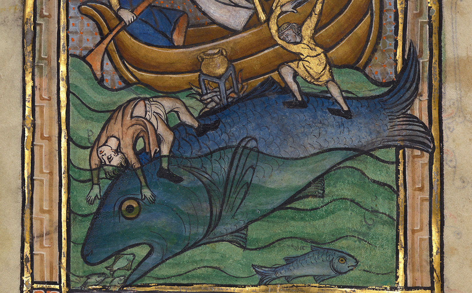A large fishlike whale carries two terrified sailors down into the depths