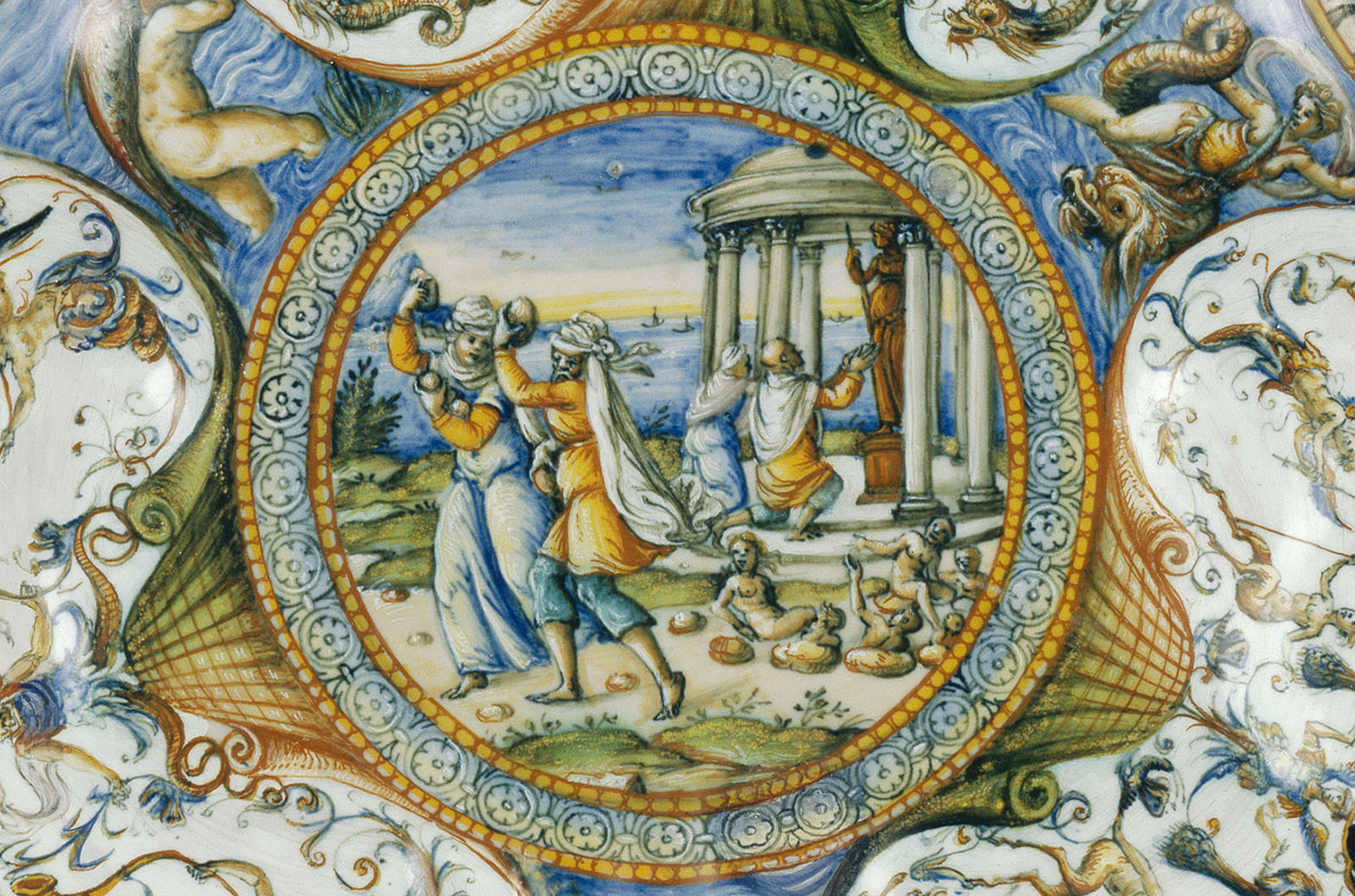 Illustration of two people taking something from a group of people on the ground, with a small temple in the background with two supplicants, all enclosed in a circle.