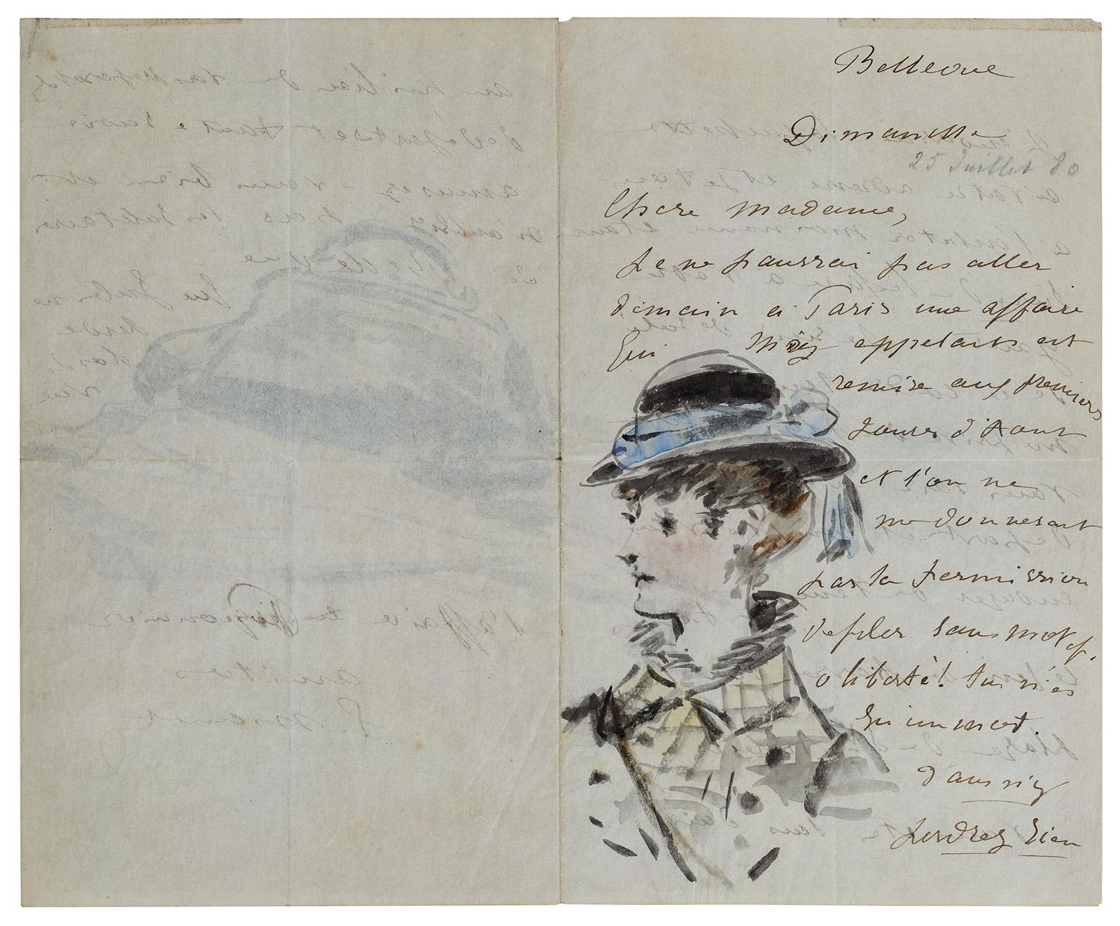 Two sides of an opened journal. Left has faded hand-written text with a sketch of a large satchel. Right has darker handwritten text in French, with a sketch of the bust of a woman wearing a high-necked jacket and a black hat with a blue ribbon.