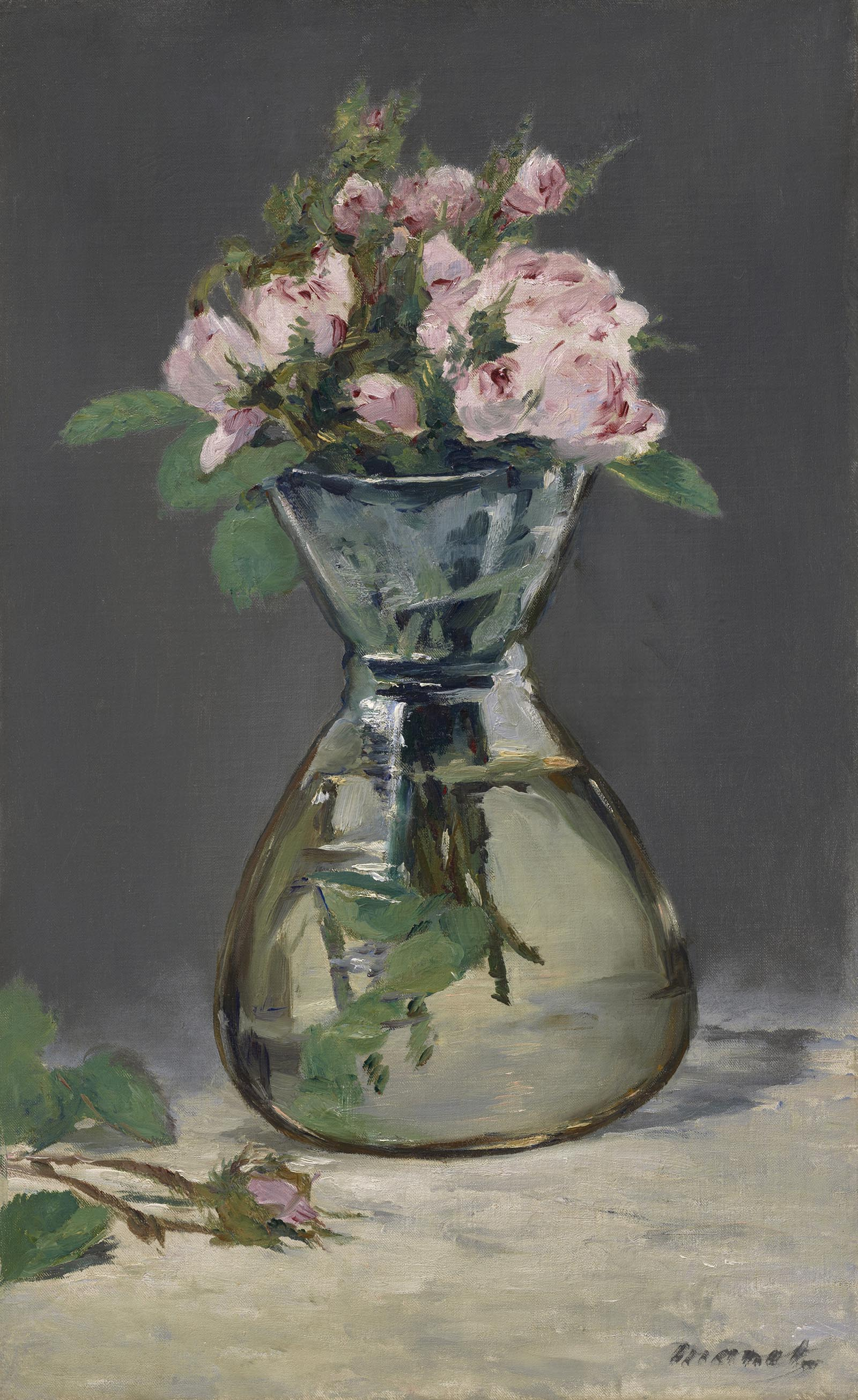 Painting of a glass vase with a tapered neck, holding soft pink flowers with long stems.
