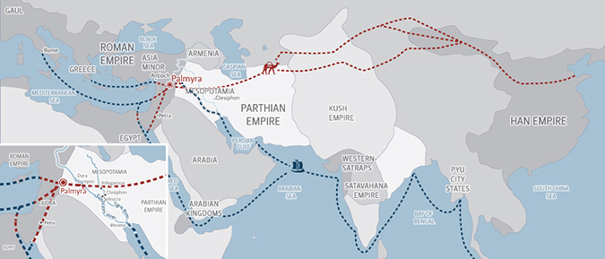 Simplified map of the ancient eastern Mediterranean showing that Palmyra was a crossroads for land and sea trade