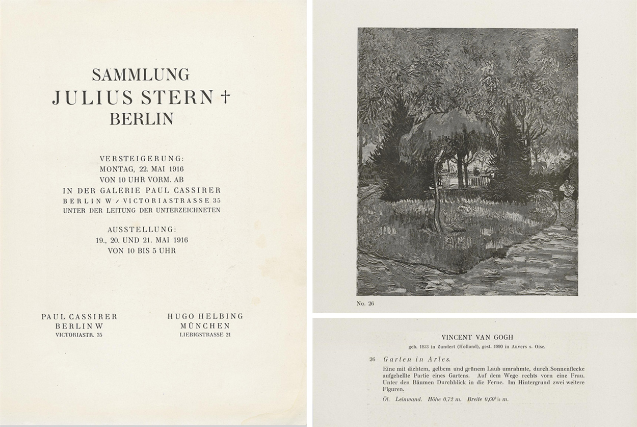 Scanned documents. Left, a title page in German. Right top, a black and white print of a woman on a path, with a small tree in the center, under the leafy overhang of a much larger tree. Bottom left, a description of Van Gogh's Garden in Arles.