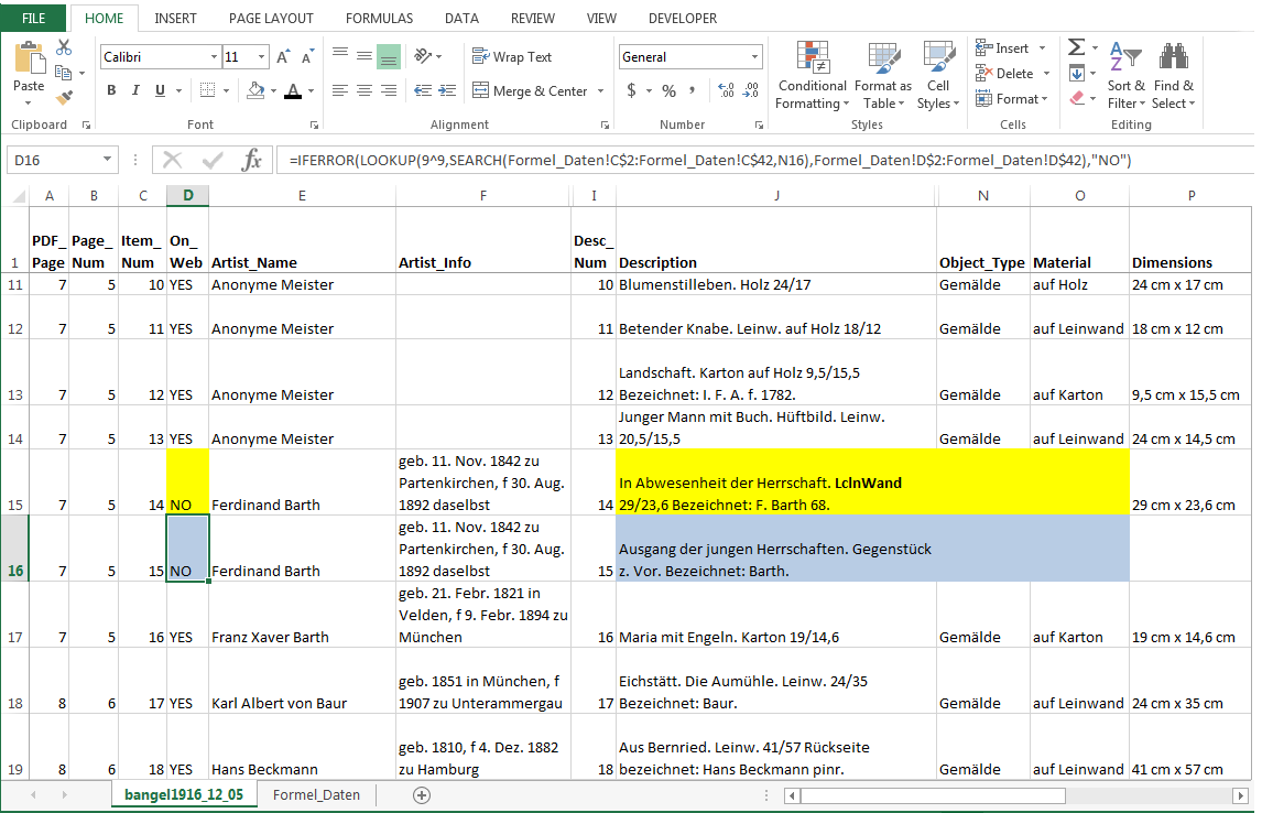 Screencap of a spreadsheet with two cells of two records highlighted. Both say On Web = No.