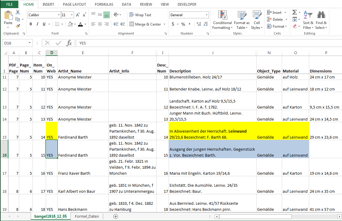 Screencap of a spreadsheet with two cells of two records highlighted. Both say On Web = Yes.