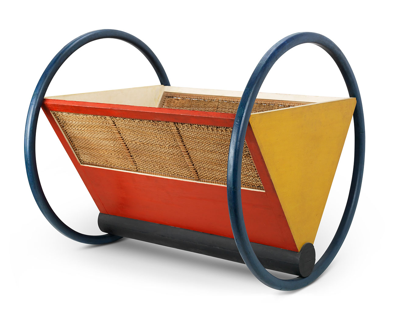 Photo of a red and yellow, triangular cradle, with a blue circular wheel on each side.