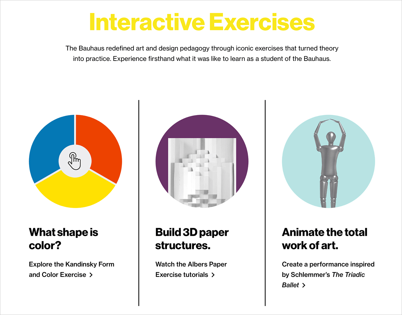A graphic titled Interactive Exercises, showing three options: What shape is color?; Build 3D paper structures; and Animate the total work of art.