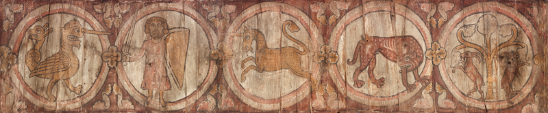 Two Panels from a Painted Ceiling, about 1240–1275, French. Wood, 3 × 14 ft. Musée de La Cour d'Or—Metz Métropole, Metz, Inv. 8353, 13-22. Image © Laurianne Kieffer - Musée de La Cour d'Or - Metz Métropole