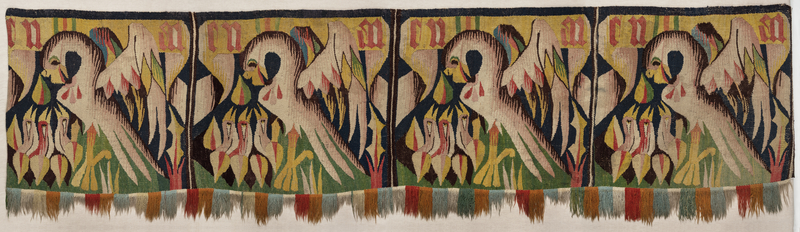 Tapestry with Pelicans, about 1500, German. Textile, 25 9/16 × 91 3/4 in. Kloster Lüne, Lüneburg, Germany, Inv. LUEKO Ha 001. Image Ulrich Loeper CC Klosterkammer Hannover