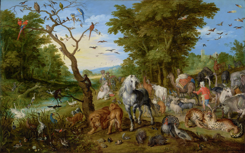The Entry of the Animals into Noah's Ark, 1613, Jan Brueghel the Elder. Oil on panel, 21 1/2 × 33 in. The J. Paul Getty Museum, Los Angeles, 92.PB.82. Digital image courtesy of the Getty's Open Content Program