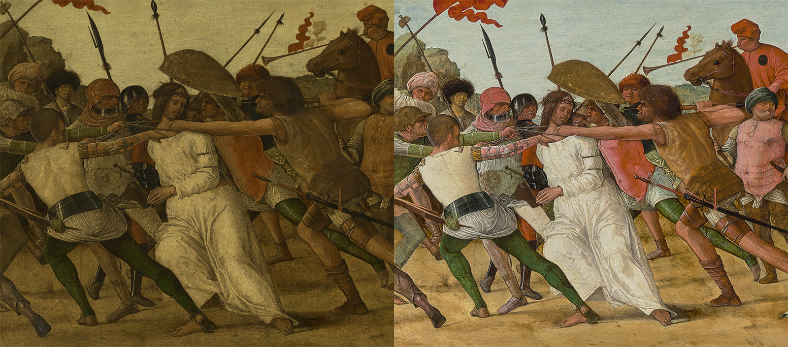 Two views of the same image of a man in a white robe being dragged or pushed by a crowed of men with spears and horses. The left version is much dingier than the right, brighter version.