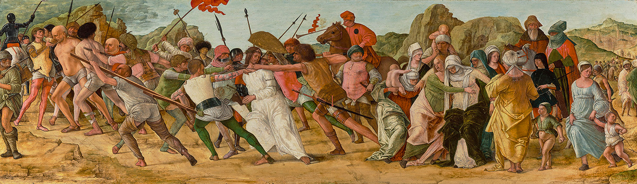 Landscape painting of man in white being dragged/pushed by men with horses and spears, followed by a group of brightly clad women and children.