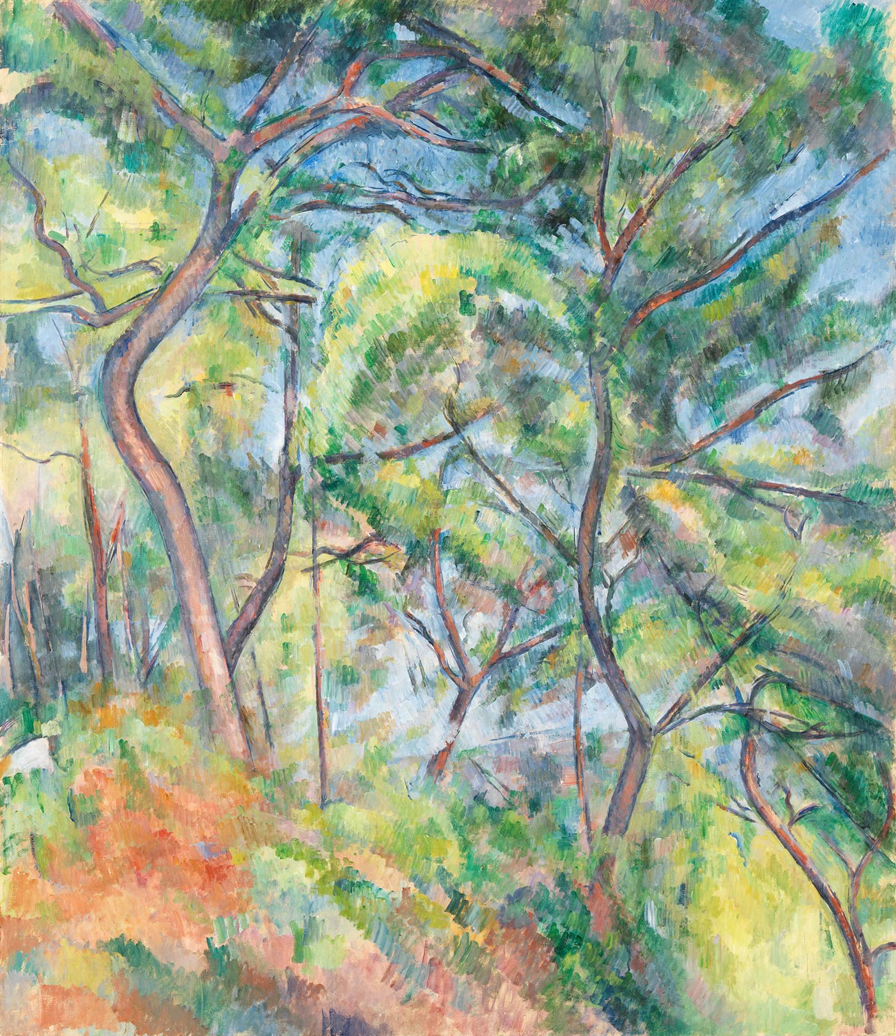 Abstract painting of tree trunks and green and red foliage fills the image.
