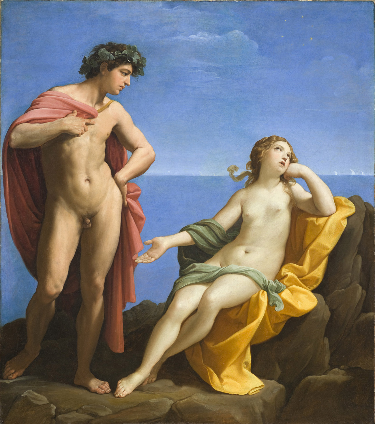 A naked young man stands to the left, holding a red cloak behind him, while a naked young woman reclines on a gold cloak on an outcropping of rocks next to the sea. She looks bored.