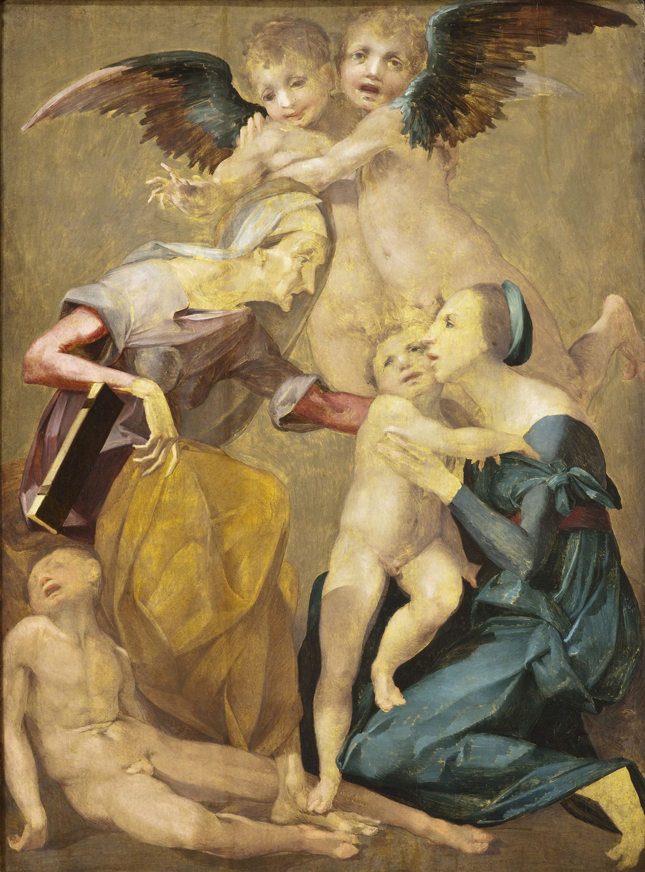 Painting of two woman, the older one in a gold skirt with a dead or unconscious boy at her feet, and the younger in a blue dress holding a naked boy. Two child angels hover behind them, with dark wings extended.