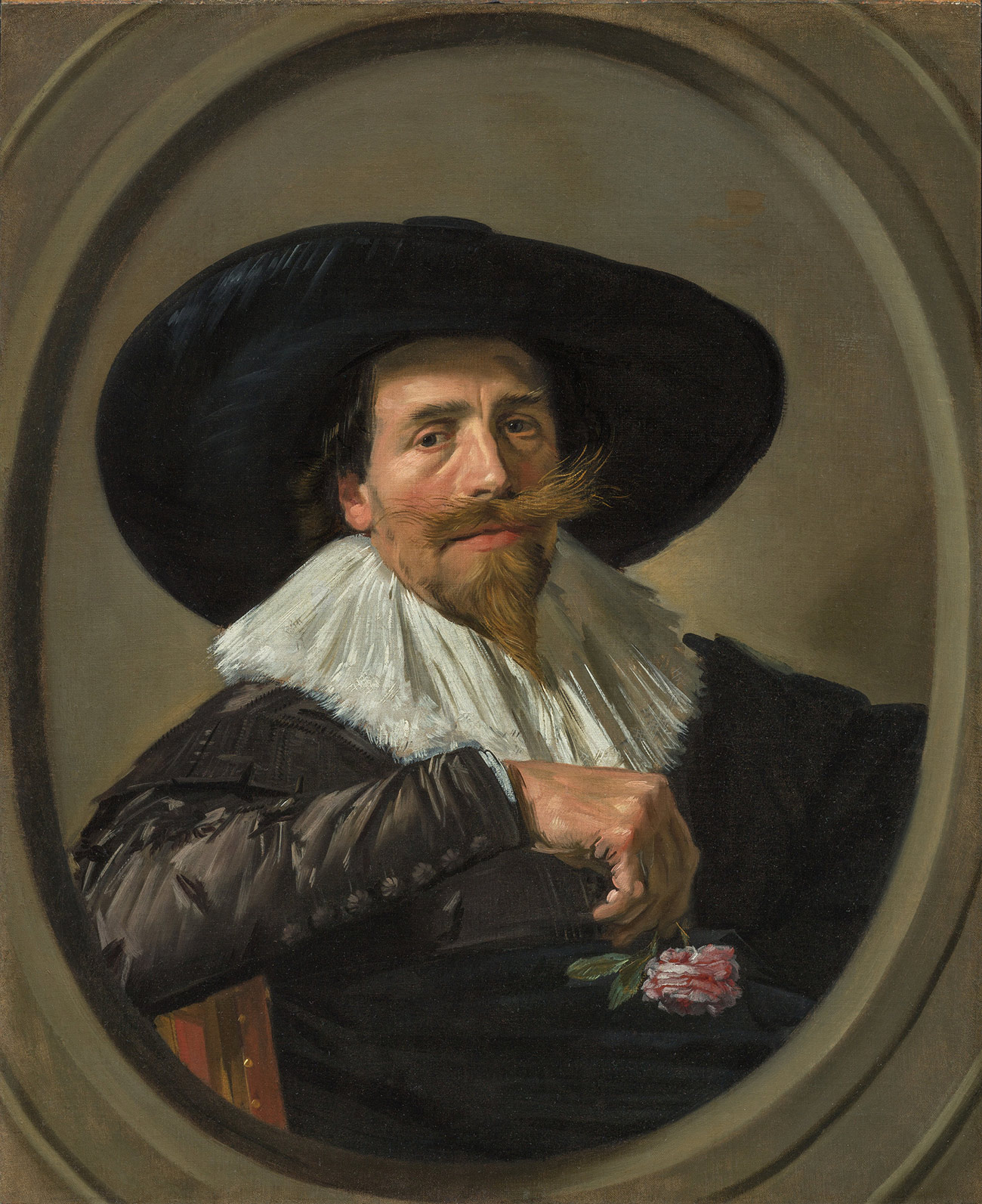 Portrait of a man with a pointy blond beard and wide, bushy mustache. He's wearing a very wide-brimmed hat, white ruff, and buttoned black jacket, and is holding a pink rose in his right hand, which is propped on the back of his chair.
