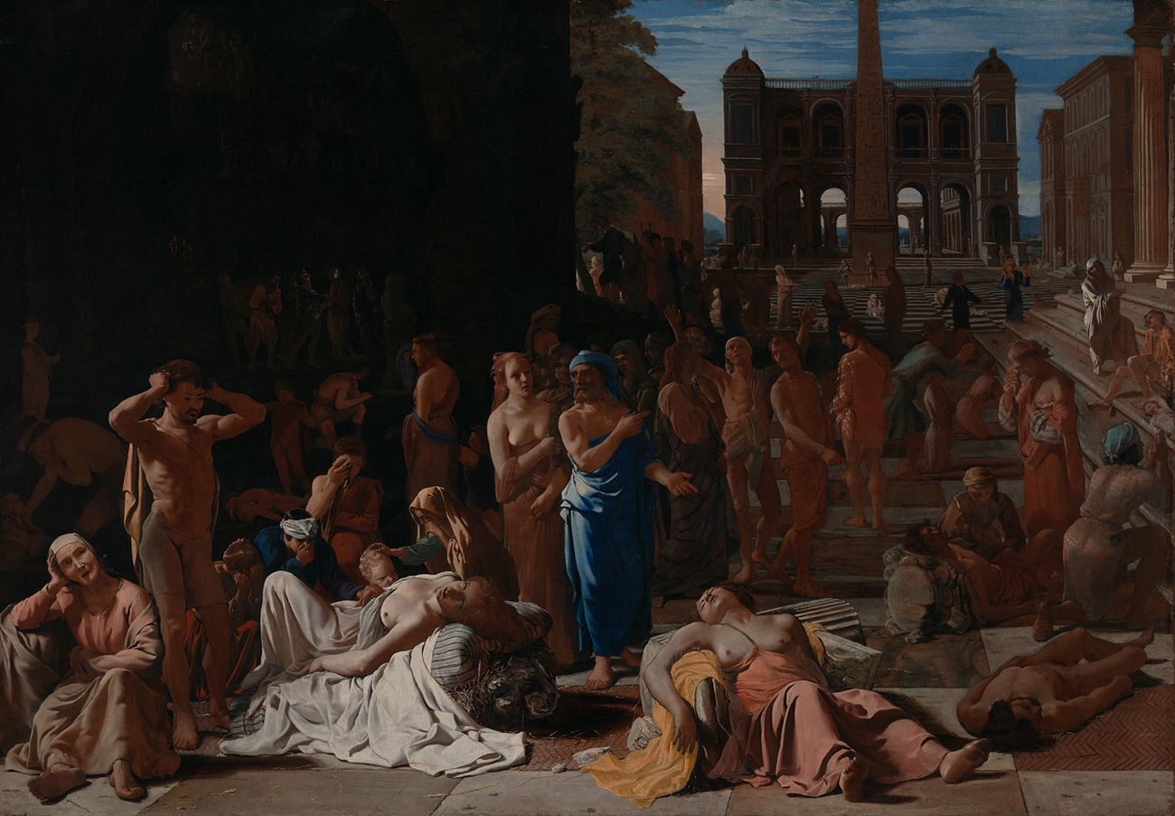 Painting of an outdoor courtyard or plaza, filled with people. Several unconscious people are laid out upon crumbling columns in the foreground. Most of the women are topless.