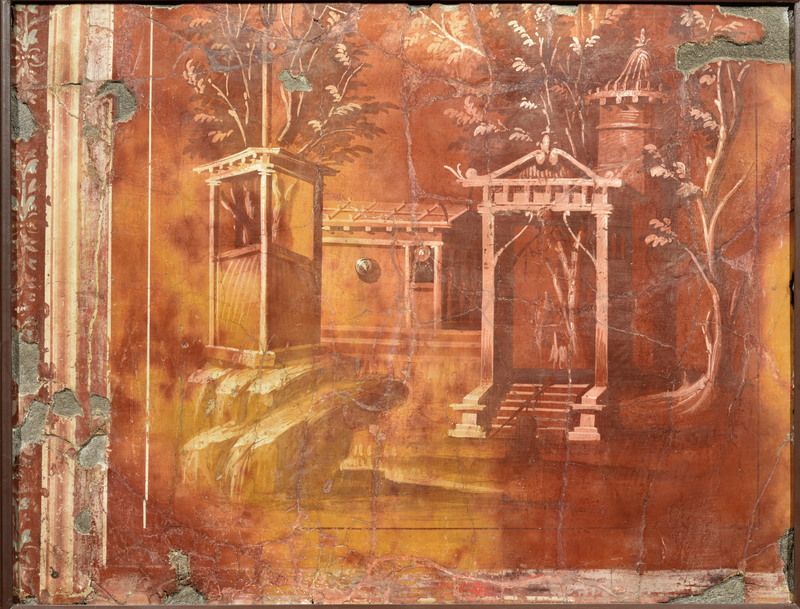 Fresco with an Architectural Landscape, about 40 BC, Roman. Fresco, 25 9/16 × 33 1/16 in. Museo Archeologico Nazionale di Napoli. Photo: Giorgio Albano