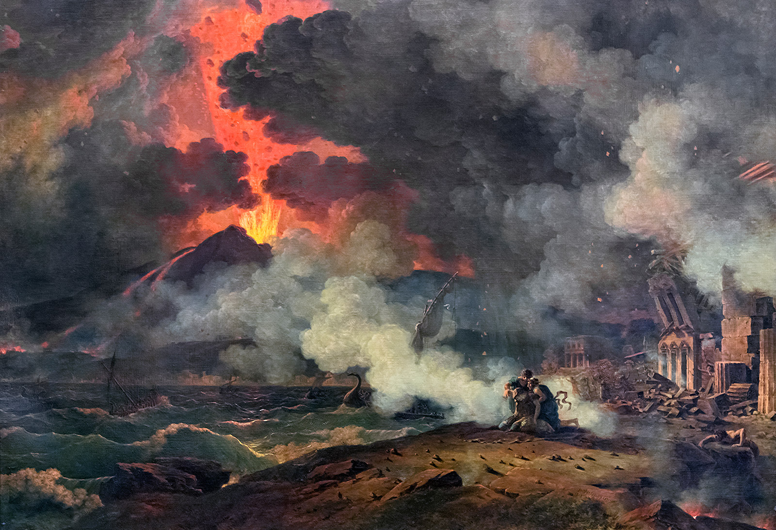 Dramatic painting shows people cowering from the lava and ash of a volcano in the background