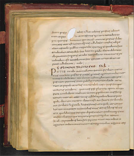Manuscript page from the Middle Ages with the Latin text of Pliny the Younger's account of the eruption of Vesuvius