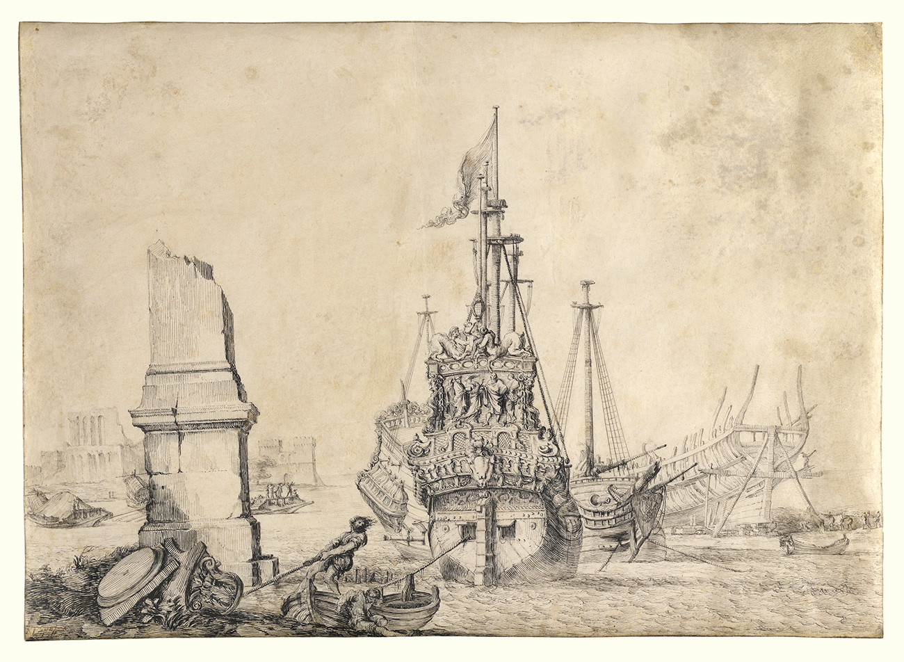 A drawing showing a ship in the background and a column in ruins in the foreground