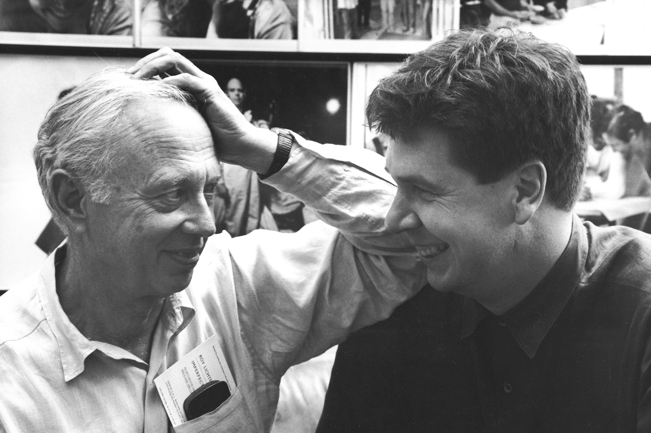 Ellsworth Kelly and Jack Shear look at each other and smile warmly