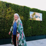 Classicist Mary Beard arrives at the Getty Center for the medal celebration.