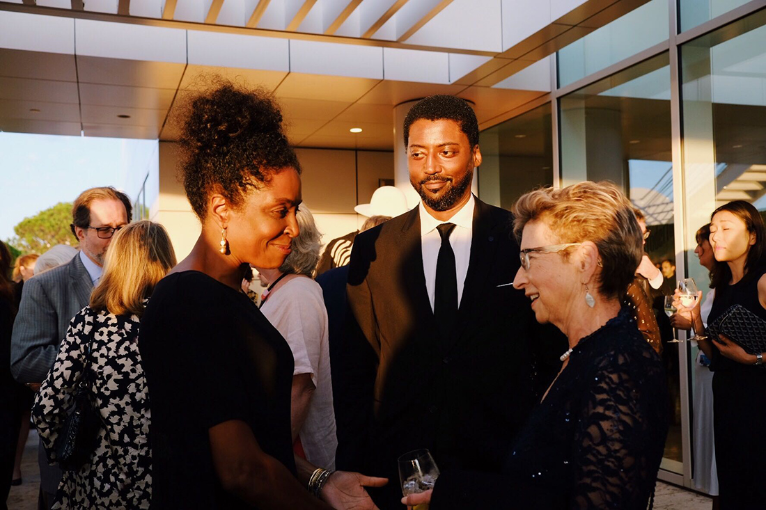 Lorna Simpson with LeRonn Brooks and Mary Miller of the Getty Research Institute