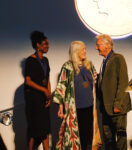 Lorna Simpson, Mary Beard, and Ed Ruscha on stage after receiving the 2019 Getty Medal