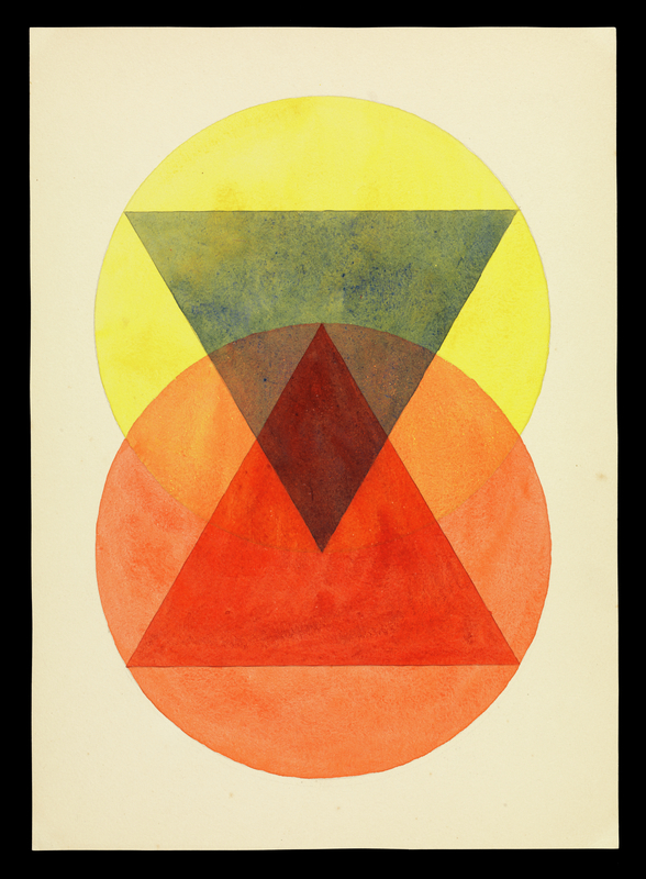 <em/>Durchdringung (Penetration) for Paul Klee's Course,  ca. 1925–1932, Léna Bergner (German, 1906–1981).  Watercolor and graphite on paper, 12 13/16 × 9 1/8 in. The Getty Research Institute, 850514. © Heirs of Léna Bergner