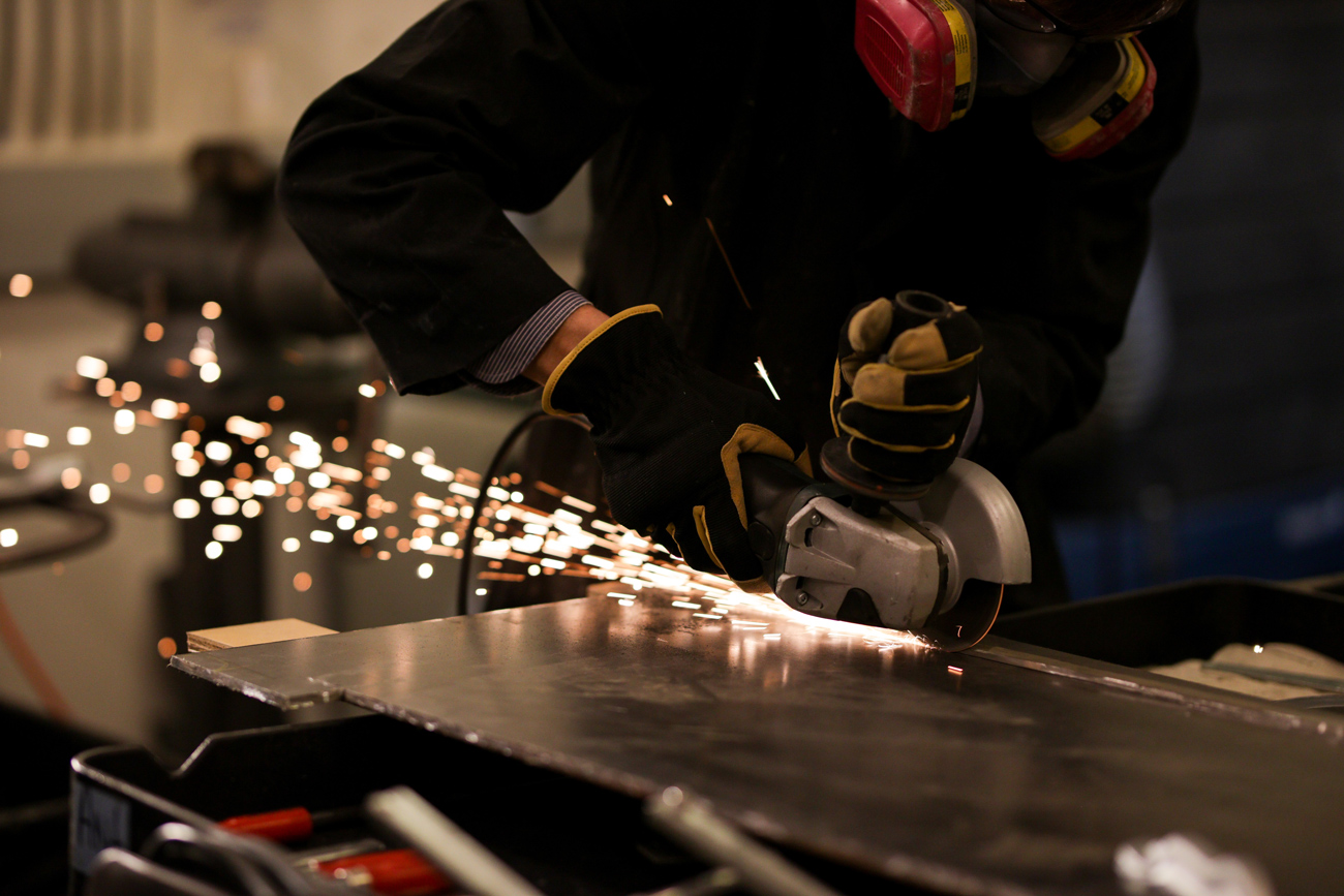 Sparks fly in the metal shop at the Getty Villa.