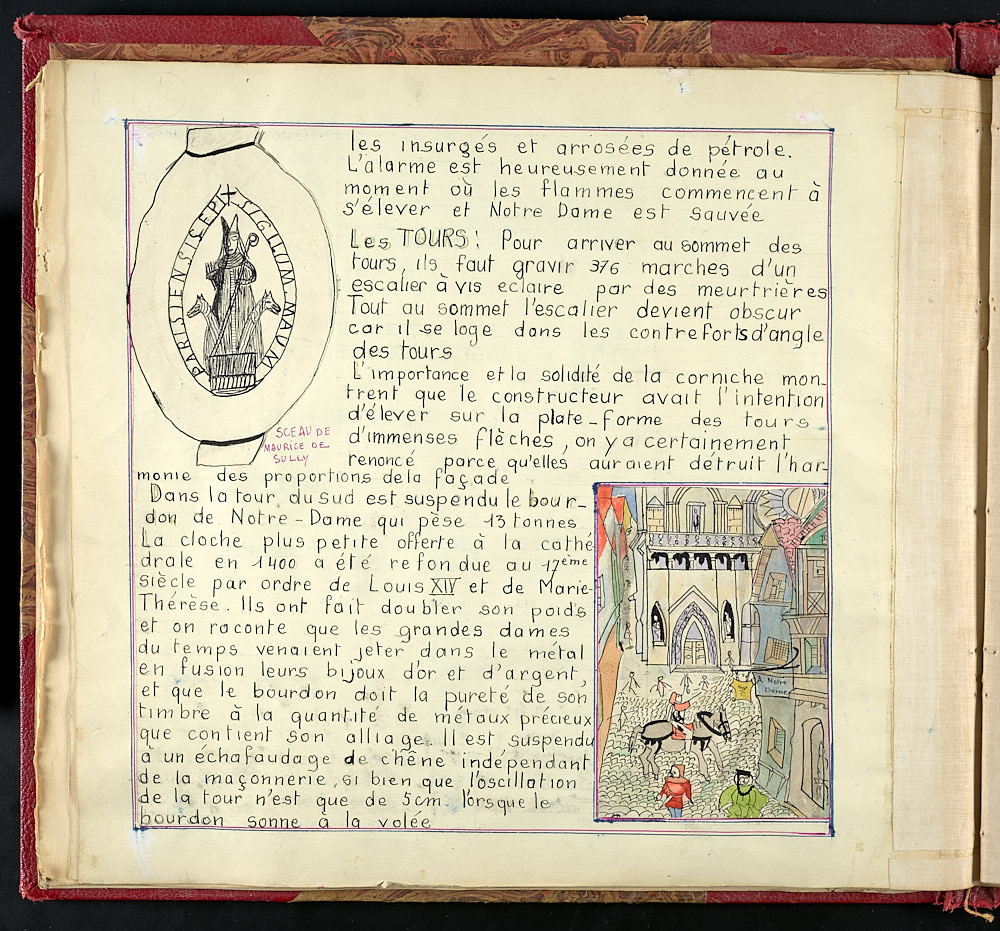 French journal page with colorless sketch in top corner, colored sketch of a courtyard in bottom corner.