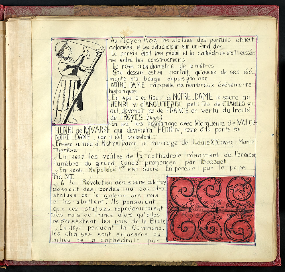 Journal page in French with sketched images in two corners.