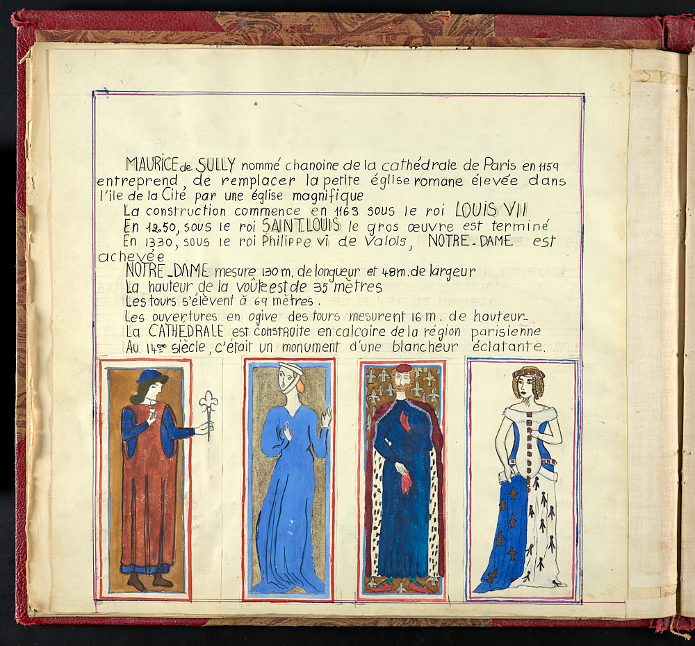 French journal page with colored sketches of two kings and two queens.