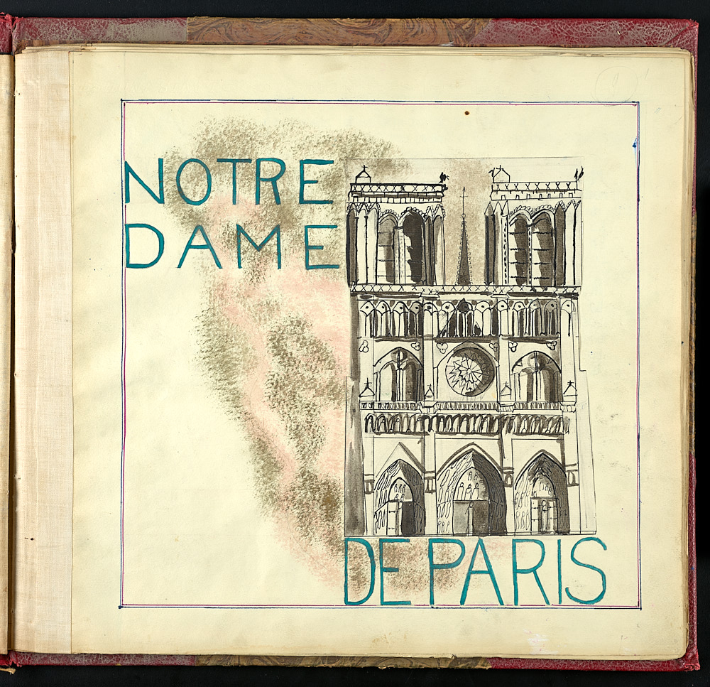 Notre Damn de Paris, with a sketch of the front of the cathedral.