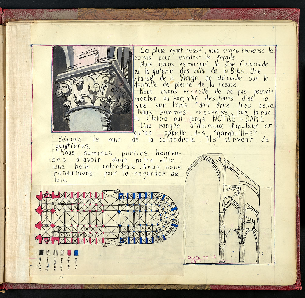 French journal page with architectural sketches.