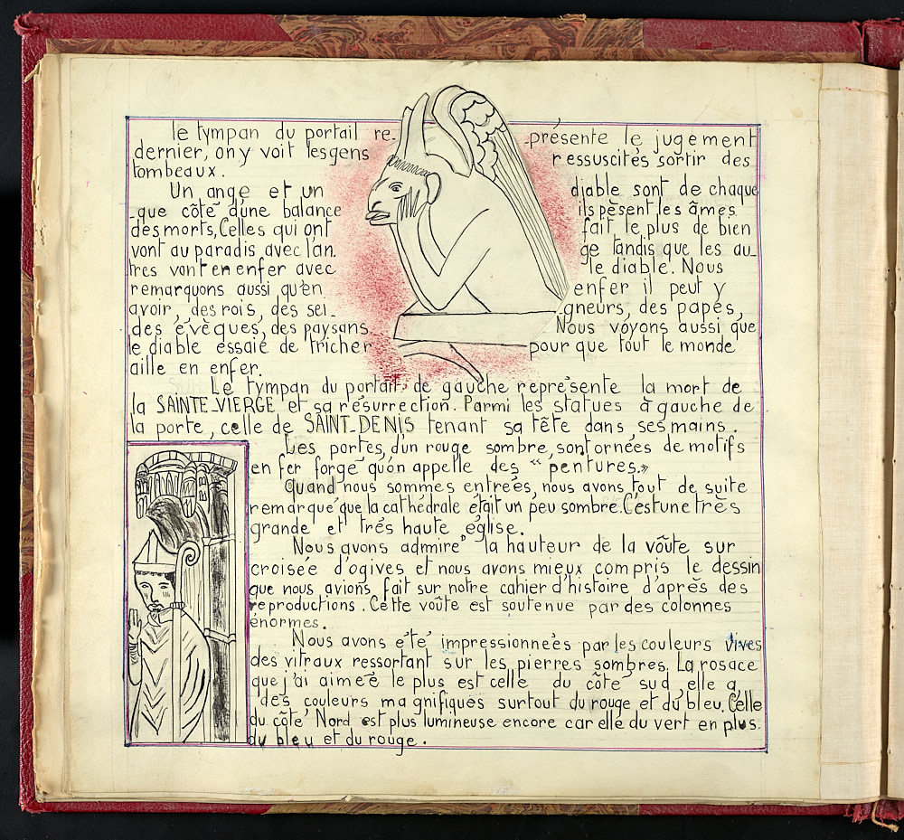 French journal page with illustrations of a gargoyle and a saint.