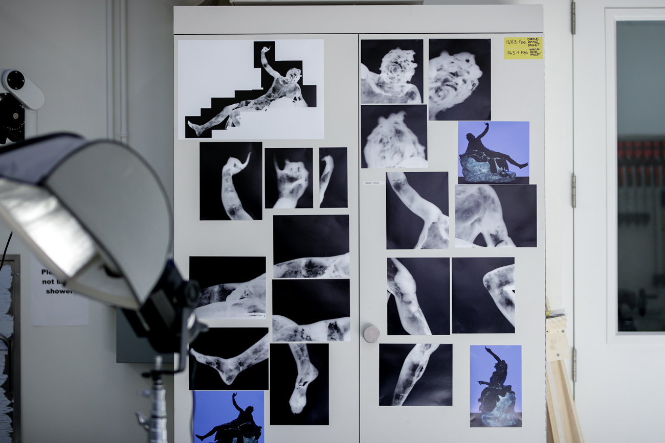 The different xrays are displayed on cabinet doors in the studio.
