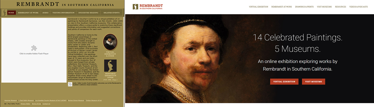 Two screen captures of websites about Rembrandt.