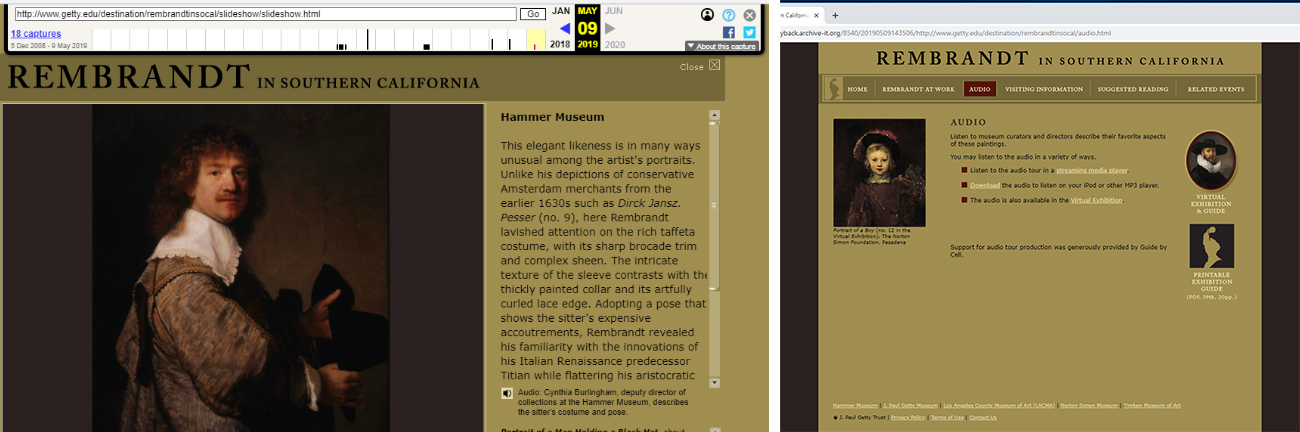 Two screencaps of an old website about Rembrandt.