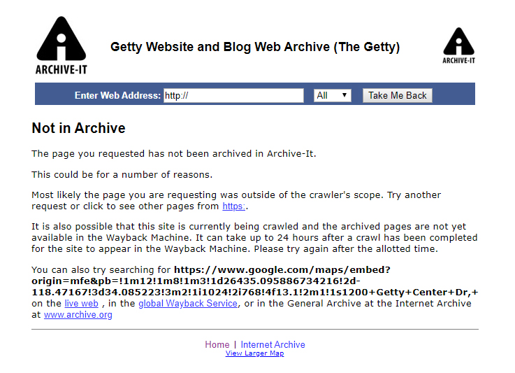 Graphic: Getty website and blog web archive (The Getty). Not in Archive.