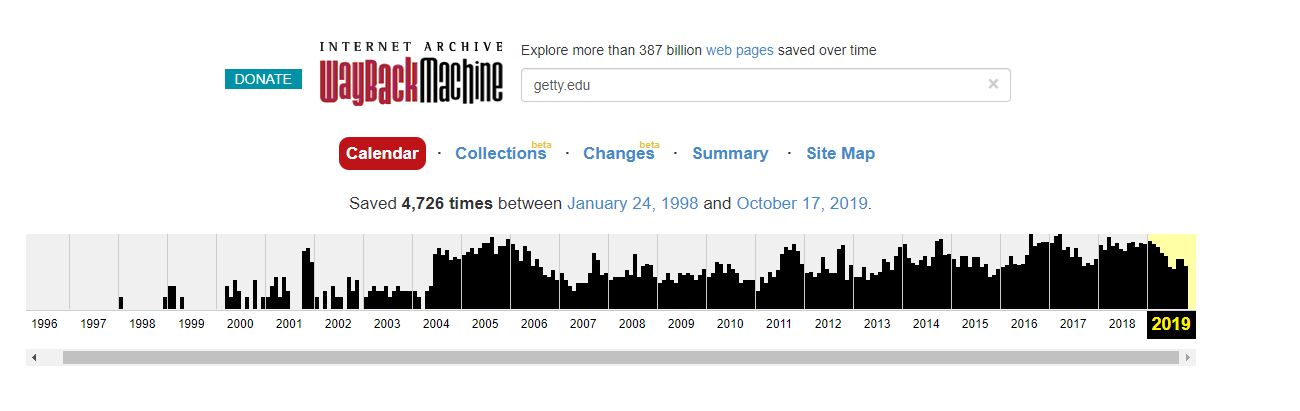 Screen capture of the Internet Archive's Wayback Machine website.