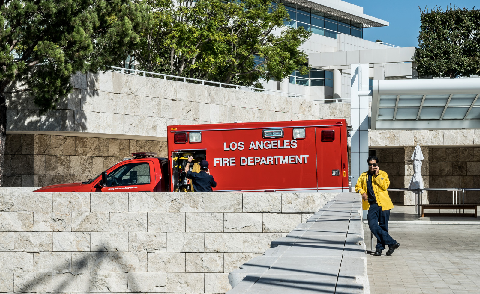 Responders continued to use Getty Center through late week as a place to stage equipment.