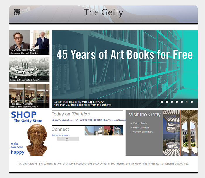 The Getty.edu home page in 2014.