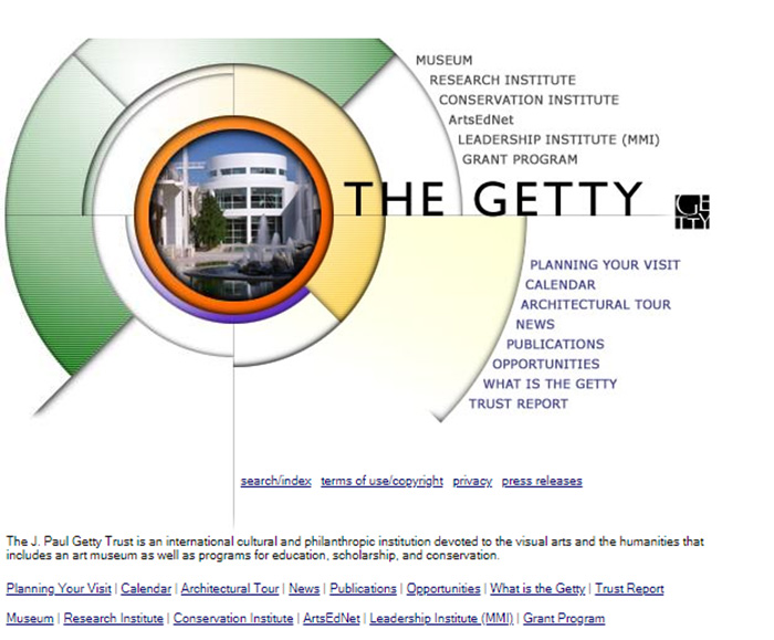A tour of the Getty.edu home page over 20 years. Here: the year 2000.