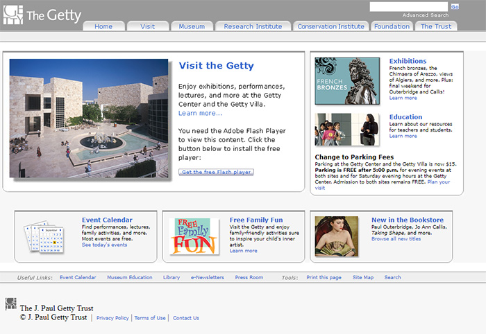 The Getty.edu home page in 2009.