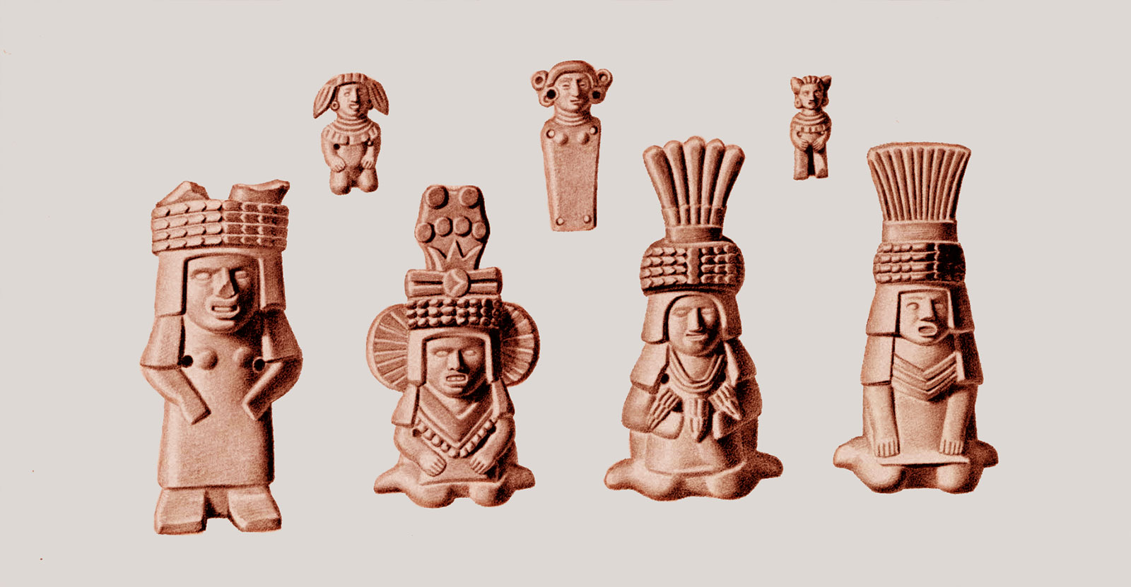 Illustration of two rows of pre-Hispanic ceramic figurines in human shapes with headdresses