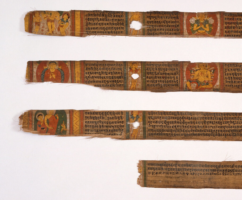 Closeups of four closed scrolls covered in tight writing interspersed with images.