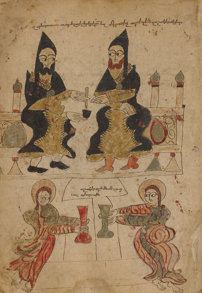 Two man in black robes share a pen and inkwell, while below them two haloed people hold vessels.