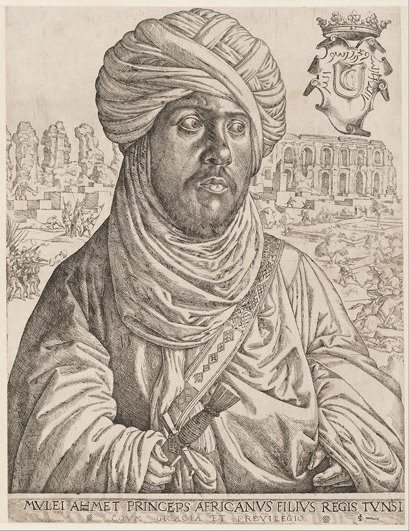 Detailed sketch of the head and torso of a black man in turban and robes, with stone ruins behind him.